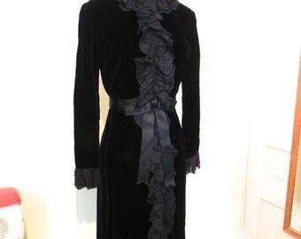Vintage 1960s Black Velvet Dress - 60s Mod Goth Lolita Dress with Ruffle Front Sm Med - on sale