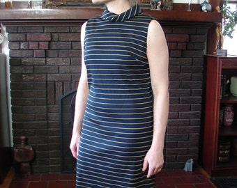Vintage 60s bAD gIRL Dress yellow and blue Stripes Wiggle S M - on sale
