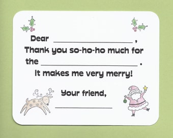 Christmas Fill in the Blank Thank You Notes - Great for Children - Santa and Reindeer