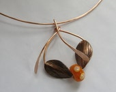 Copper Pendant Necklace with Beads, Beaded Choker in Copper, Copper and Glass, Yellow and Copper Necklace, Gift for Her