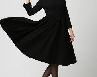 Long Black Wool Midi Dress (1126)