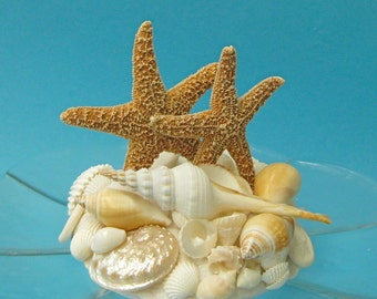 Beach Wedding Cake Topper with Starfish and Seashells - sea shell centerpiece sea shell shells star fish starfish