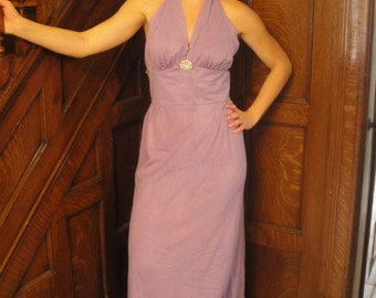 Vintage Purple  Halter Eveing Dress Rhinestone NOS
