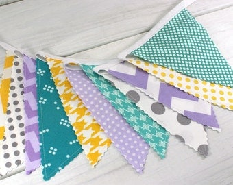 Bunting, Banner, Fabric Flags, Nursery Decor, Photography Prop - Lavender, Teal, Purple, Gray, Yellow, Grey, Plum, Turquoise, Chevron