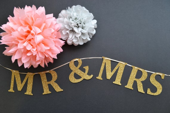 Glitter Mr and Mrs wedding signs or banner