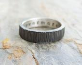 Rugged Blackened Tree Bark Wedding Band for Men or Women - Dark Silver Wood Grain Ring with Personal Inscription - Flat Rectangular Band
