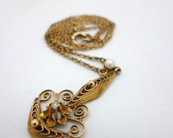 Vintage 10K Gold Dainty Filigree Necklace Choker