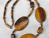 Large Bold Tiger Eye Necklace, Single Strand Statement Gemstone Necklace, Tiger Eye Jewelry