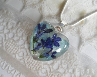 Royal Blue Lobelia, Sky Blue Hydrangea Pressed Flower Glass Heart Pendant-Nature's Art-Gifts Under 30-Symbolizes Loyalty, Understanding