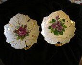 2 Vintage Nasco Dishes Made in Japan 5 inch Leaf Shaped Collectible Floral Plates