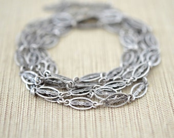Vintage Style Chain, Detailed Oxidized Silver Tone, Unique Textured Chain for Jewelry, Base Metal Brass, Sold per Foot
