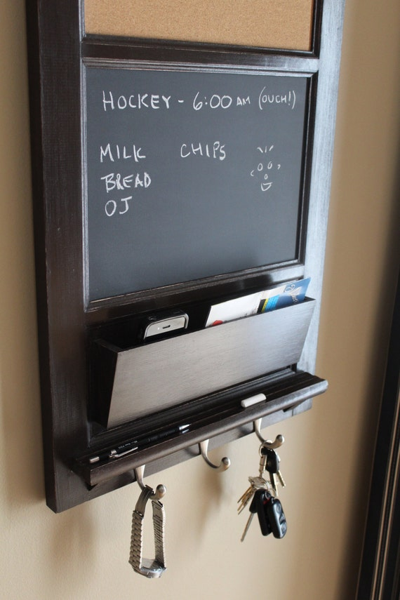 Vertical wall chalkboard cork bulletin board with mail by for Wall mail organizer with cork board