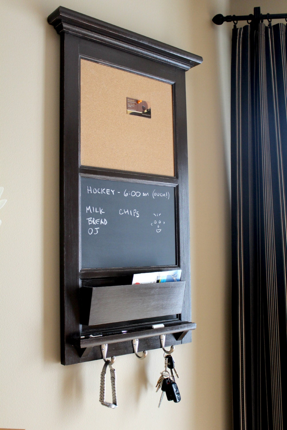 Vertical wall tall chalkboard cork bulletin board with mail for Cork board with hooks
