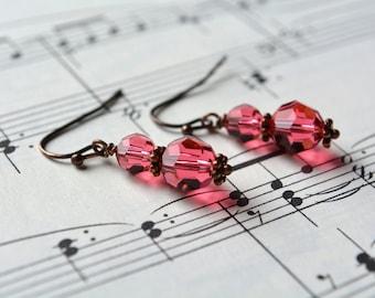 Pink Crystal Dangle Earrings Copper Pink Earrings Swarovski Crystal Antiqued Copper Earrings