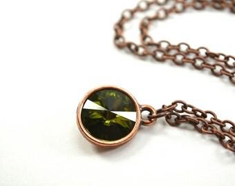 Olive Green Necklace Antiqued Copper Necklace Olive Crystal Necklace Green Crystal Pendant Olive Copper Pendant