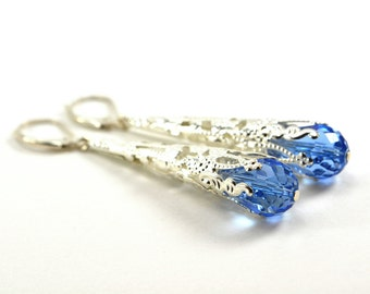 Light Sapphire Earrings, September Birthstone Earrings, Sterling Silver Filigree Long Victorian Virgo Birthday Dangle Earrings