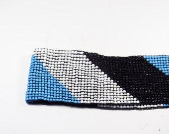 Vintage Blue Bead Belt - Beaded elastic belt 1980s Belt accessory women's fashion Glam blue white and black Size med.