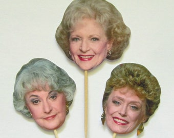 Golden Girls Cupcake Toppers . Set of 12 Picks . Birthday Party Decorations . Retirement Party . Thank You For Being A Friend