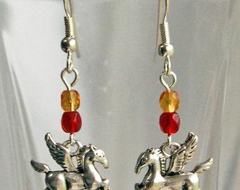 Red n Gold Pegasus Earrings, Whimsical Winged Horse Earrings, Mythology Dangle Earrings, Flying Horse Pierced Earrings
