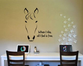 Horse decal, quote wall sticker, pony decal, mustang wall decal, wall words, girls bedroom decal, teen room decor, western, 30 X 36 inches