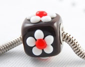 Universal Charm Bead, Faux Chocolate and Flowers Cube, Lampwork Glass, Big Hole Bracelet Jewelry