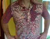 1970s retro wide collared short sleeve vintage shirt