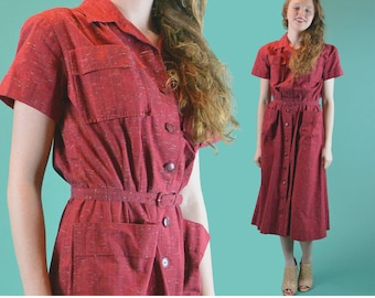 Vintage 50s Day Dress Shirtwaist Dress / Nelly Don Red Fitted Waist Button Front Retro Mad Men Dress / Big Pockets Flare Skirt Dress M / L