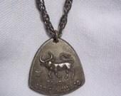 Vintage 70s 1970s Zodiac Pendant Necklace - Taurus - Hippie - Boho
