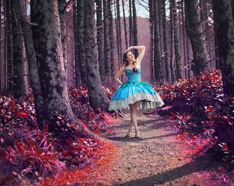 Custom Mini Hoop Mad World Dress | Alice in Wonderland | Fairytale Ball Gown | Sugar Plum Princess | Parachute Mini Dress | Corseted Hoop