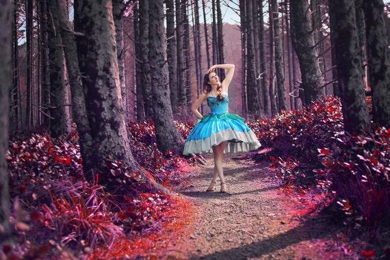 Alice Parachute Dress Deviantart: Custom Mini Hoop Mad World Dress Alice In Wonderland
