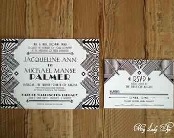 100 Gatsby Wedding Invitations Art Deco Invite Art Nouveau Invite Black and White - The Jacqueline Collection - By My Lady Dye