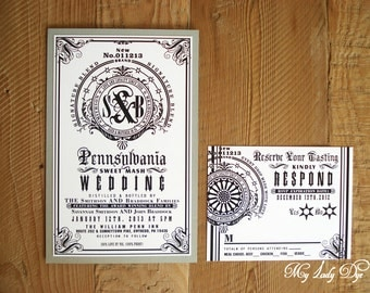100 Jack Daniels Inspired Modern Wedding Invitations Wine Label Liquor Label Beer Label - The Savannah Collection - By My Lady Dye