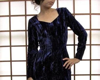 SALE Vintage 90's Deep Purple Crushed Velvet Body Con Bandage Mini Dress S