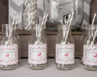 Water Bottle Labels - Pink Carriage Baby Shower Decorations - Pink & Grey It's a Girl Theme (12)