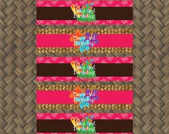 Hawaiian Luau Birthday Party - NAPKIN RINGS - Printable Napkin Wrap - Luau Decorations - Diy Birthday Party Silverware Wrap