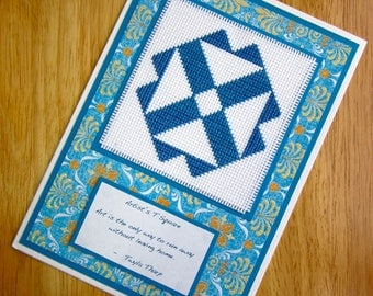 Artist's T Square Handmade Cross Stitch Greetings Card Amish Quilt Block Quotation Blue