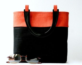 CLOSING SALE 50% OFF...black orange color block linen handbag...2 internal slip pockets...medium sized vegan purse...eco friendly flax linen