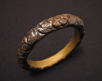 BIG Antique Victorian Puffy Hollow Brass Repousse Scrolled Flower Jingle Chime Bangle Bracelet