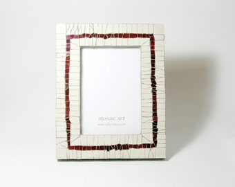 Mosaic Photo Frame | Unique artistic frame | Total size--20,5 x 25,7cm (8,07 x 10,11 in). Photo size--13 x 18 cm (5 x 7 in)