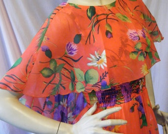 Mahalo and Aloha vintage 1970s Long Hostess Maxi dress with Bright Tropical Print and Flutter sleeves small Medium