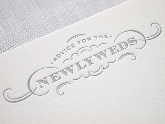 Letterpress Advice Cards - Newlyweds Bride and Groom  Marriage - Pack of 10