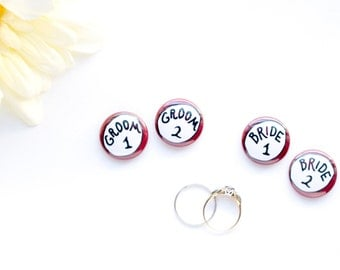 Gay Wedding Pinback Buttons Groom Badges Two One Inch Two Grooms LGBT Gay Marriage Whimsical Engagement Gift