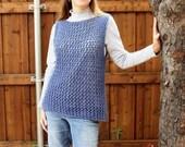 Knitting Pattern, Knitted Vest Pattern, Easy Knit Sweater Pattern, Knit Tunic Patterns, Lace Knitting