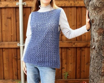 Knitting Pattern for Sweater, Knitted Vest Pattern, Easy Knit Sweater Vest Pattern, Knit Tunic Patterns, Lace Sweater Pattern