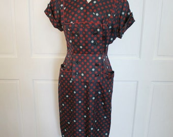 Vtg 40s red & blue sailor top dress