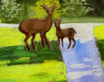 Doe and Fawn- Original Pastel Painting 8x10 by Jamies Art