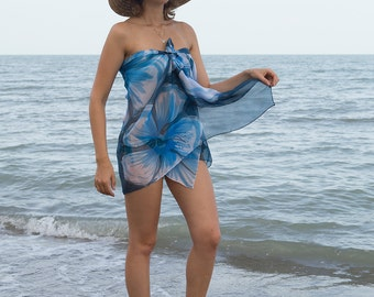 Elegant Hand Painted Silk Chiffon Scarf Pareo Wrap Beach Sarong Top Hawaii Hibiscus Flowers Floral Blue Navy Blue