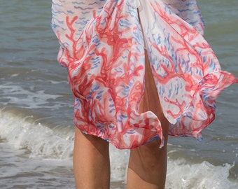 Elegant  Hand Painted Silk Chiffon Beach Pareo Sarong  with Coral Reef Red Blue White Beach Fashion Summer Vacations