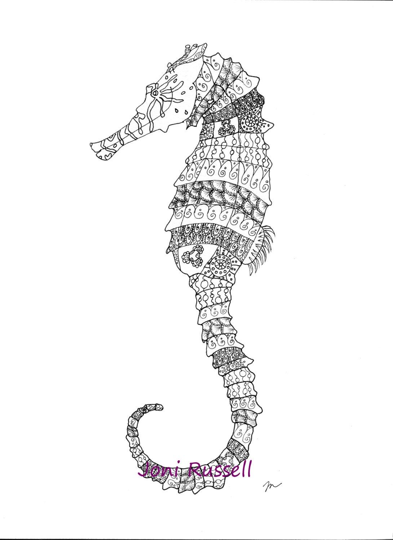 seahorse coloring page digital download