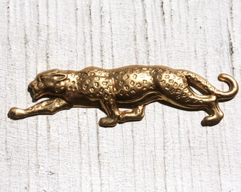 1 Brass Leopard 1970s Stamping Large // Brass Animal 70s Leopard Stamping